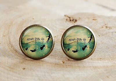 Peter Pan Tinkerbell Themed Glass Silver Stud Earrings Never Grow Up