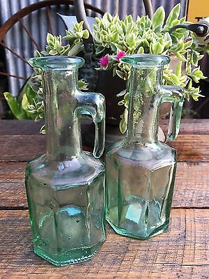 Pair Of Lovely Shaped Vintage Green Tint Glass Bottles With Handles Collectable