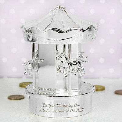 Personalised Silver Carousel Moneybox Baptism Christening New Born Baby Boy Girl