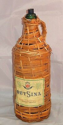 Vintage Retsina Greek Wine 3 Liter Empty Green Glass Display Bottle Wicker Cover