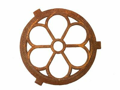 Window frame in an antique style - circular cast iron with rust - round