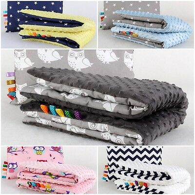 135X100cm  MINKY REVERSIBLE FILLED BLANKET SOFT COSY FOR COT BED QUILT  COTTON