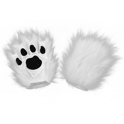 Fingerless Kitty Cat Wolf Dog Yeti Paws White Fur Gloves Costume Accessory Adult