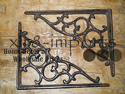 2 Cast Iron Antique Style SM Leave & Vine Brackets Garden Braces Shelf Bracket