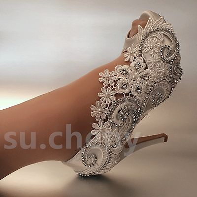 "3/4"" heel white ivory silk lace open toe crystal Wedding shoes Bride size 5-9.5"