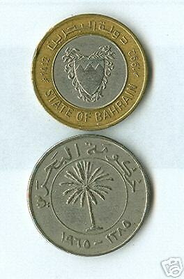 2 DIFFERENT 100 FIL COINS from BAHRAIN - 1965 & BI-METAL 1992.(2 TYPES)