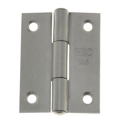 Qty 1 Pair - Fixed Pin Hinge 50mm x 38mm x 1.4mm Stainless SS Door Butt 4 Hole