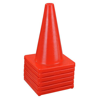 "6 New 18"" Red Wide Body Road Safety Cones Construction Traffic Sports PVC Cone"