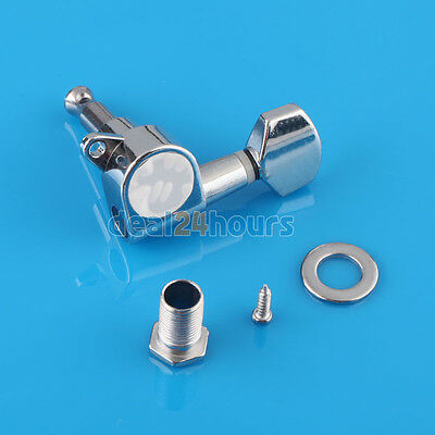 Chrome 6 Guitar String Tuning Pegs Tuners Machine Heads Acoustic Electric