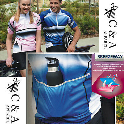 Fully Sublimated Unisex Cycling Jersey Top with Reflective Trim & Back Pockets