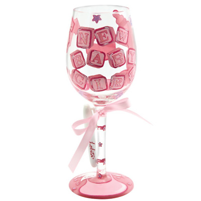 Lolita New Baby Girl Personalised Wine Glass Gift Box Hand Painted