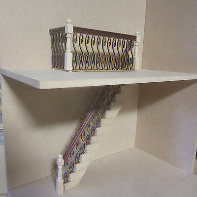 Stairs & Banister Set. Inc Stair Treads Mahogany Handrail Dolls House item DHD73