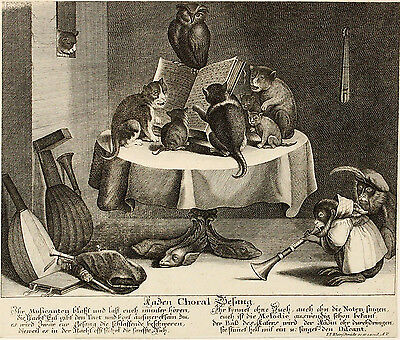 c1700 | Johann Jakob Kleinschmidt | CAT Choir | copper ENGRAVING | rare | german