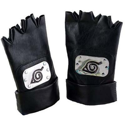Naruto Hatake Kakashi Leaf Village PU Leather Fingerless Gloves Cosplay Acce