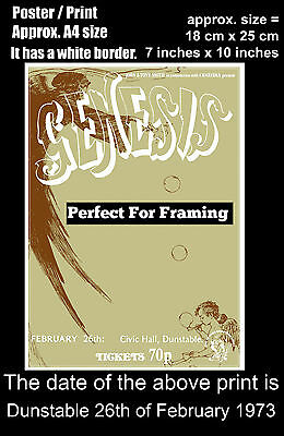 Genesis live concert Dunstable Civic Hall 26 February 1973 A4 size poster print