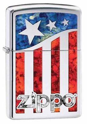 Zippo Windproof Polished Chrome With Fusion Flag and Logo, 29095 New In Box