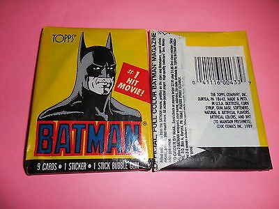 1989 Topps Batman Movie Trading Cards Wax Pack (x1) Fresh from Box!