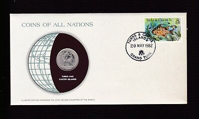 1982 Turks Caicos Islands 1981 Quarter Crown Coin Stamp All Nations Set B-985