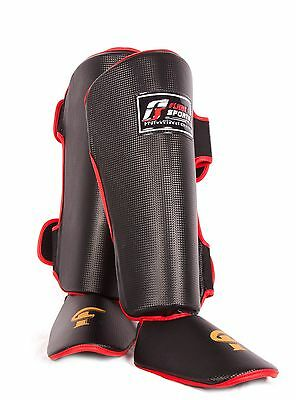 Flare shin guards Instep Foot Pads MMA Leg Kick Muay Thai Boxing Training