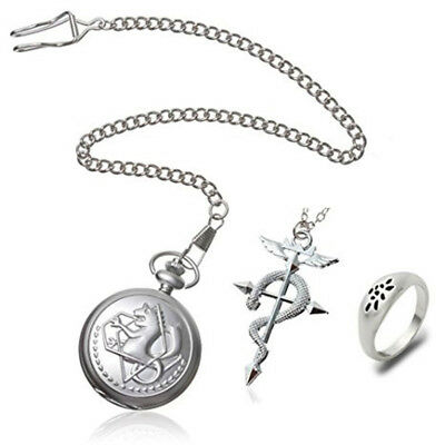 Pocket watch Cross Snake Necklace Ring Full Metal Alchemist Edward Elric Cosplay