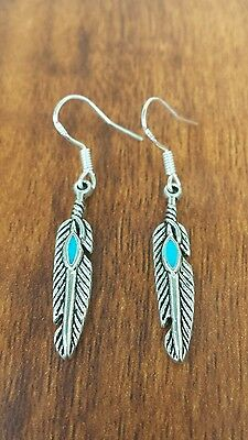 Turquoise Feather Earrings 40% off Gypsy HIPPIE Boho Festival Silver925 Hooks