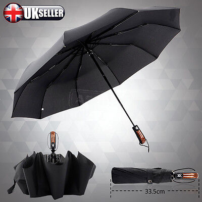 Wind Resistant Fiberglass Auto Open Close Windproof Vented Men's Black Umbrella