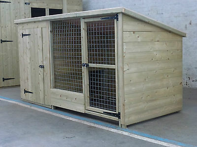 TANALISED WOODEN DOG KENNEL AND RUN / CATTERY  6 X 4 x 4 HIGH