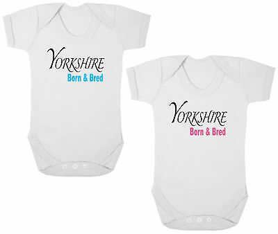 YORKSHIRE BORN & BRED New Bodysuit/Grow/Vest/Romper, Newborn Gift, Baby Shower