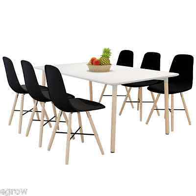 6 x Black Armless Dining/Lounge Office Chairs with Hardwood Legs 47 x 50 x 82 cm