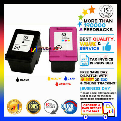 2 Ink for HP 63XL B+C Deskjet 2130 2131 3630 3632  ENVY 4520 Officejet 3830 4650