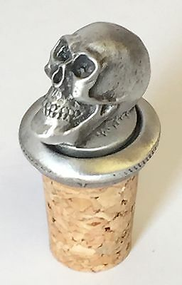 Alas, poor Yorick Skull Hand Crafted Pewter Bottle Stopper Wine Saver
