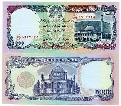 AFGHANISTAN 5000 AFGHANS (Afghanis) UNCIRCULATED FREE SHIPPING