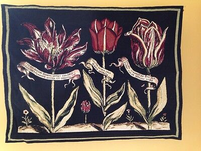 Old World Print Spring Flowers 3 Tulips Jacquard Woven Tapestry Wall Hanging NEW