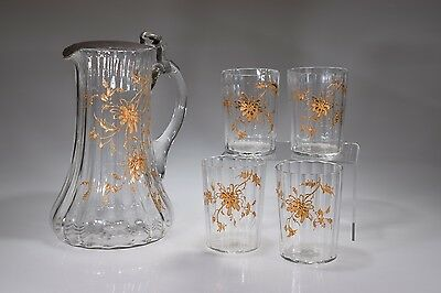 Victorian Era Floral Enameled Decorated Rib Optic FLINT CRYSTAL 5 PC Water Set
