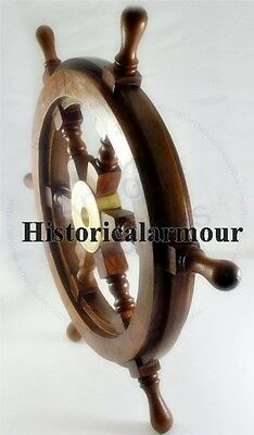 "24""Wood Boat Ship Wheel Nautical Decoration Marine Home Idea Rudder brass hub"