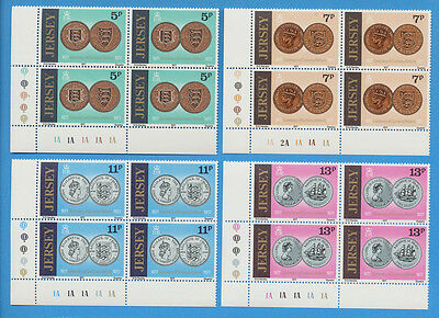 JERSEY - scott 171-174 VFMNH blocks of 4, 1977, coins on stamps, currency reform