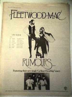 FLEETWOOD MAC Rumours UK Tour 1977  Poster size Press ADVERT 16x12 inches