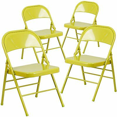 4 Hercules Color Burst Triple Braced Double Hinged Metal Folding Chair - Yellow