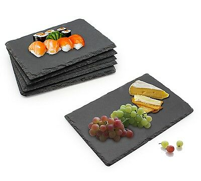 Slate Food/Cheese Boards Plate Set Restaurant Serving Platter Dining Gift 6pc/st