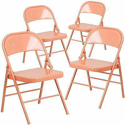 4 Hercules Color Burst Triple Braced & Double Hinged Metal Folding Chair - Coral