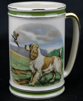 "Vintage Elegant  Large ENGLISH SPRINGER SPANIEL Phesant Coffee Mug  Over 5"" Tall"