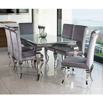 Louis dining table set with chairs- white stainless steel- modern luxury