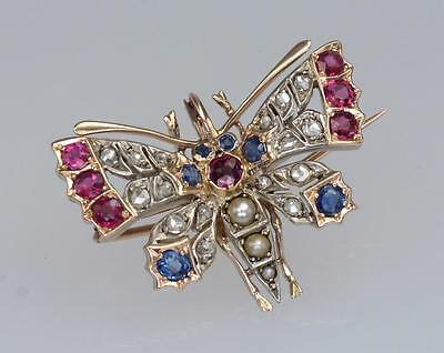 Victorian Rose Cut Diamond Pearl Ruby Sapphire 18K Gold Antique Butterfly Brooch
