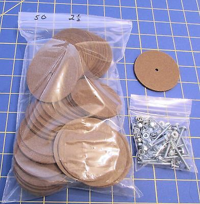 50 – 2 1/2 Inch Discs to Make Five Jointed Teddy Bears with Tap bolts Sets