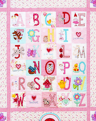 ABC Girls Quilt - sweet pieced & applique quilt PATTERN - Red Brolly