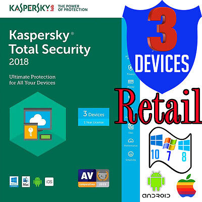 Kaspersky Total Security 2016 Multi-Device Antivirus 3 User Android Windows Mac