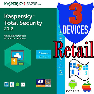Kaspersky Total Security 2018 Multi-Device Antivirus 3 User Android Windows Mac