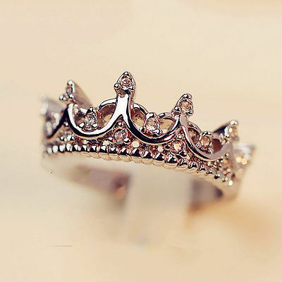Ladies Queen Crown Crystal Rhinestone Silver Plated Ring Womens Fashion Jewelry