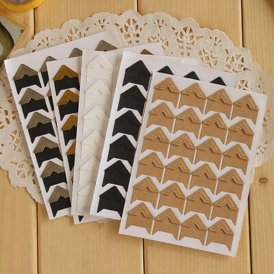 New 2 Set 24Pcs Retro Kraft Corner Stickers Picture Handmade Album Photo DIY