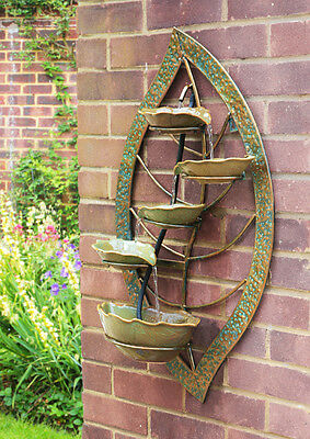 Wall Mounted Water Feature Vintage Leaf Fountain Cascade Bowls Ceramic Design